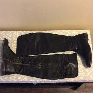 Frye black leather over the knee boots